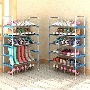 Image 3 - Scarpa semplice Cremagliera Con Corrimano Combinazione Libera Opzionale Metallo Scarpe di Stoccaggio Mensola Multifunzionale Multi strato di Scarpe Cabinet