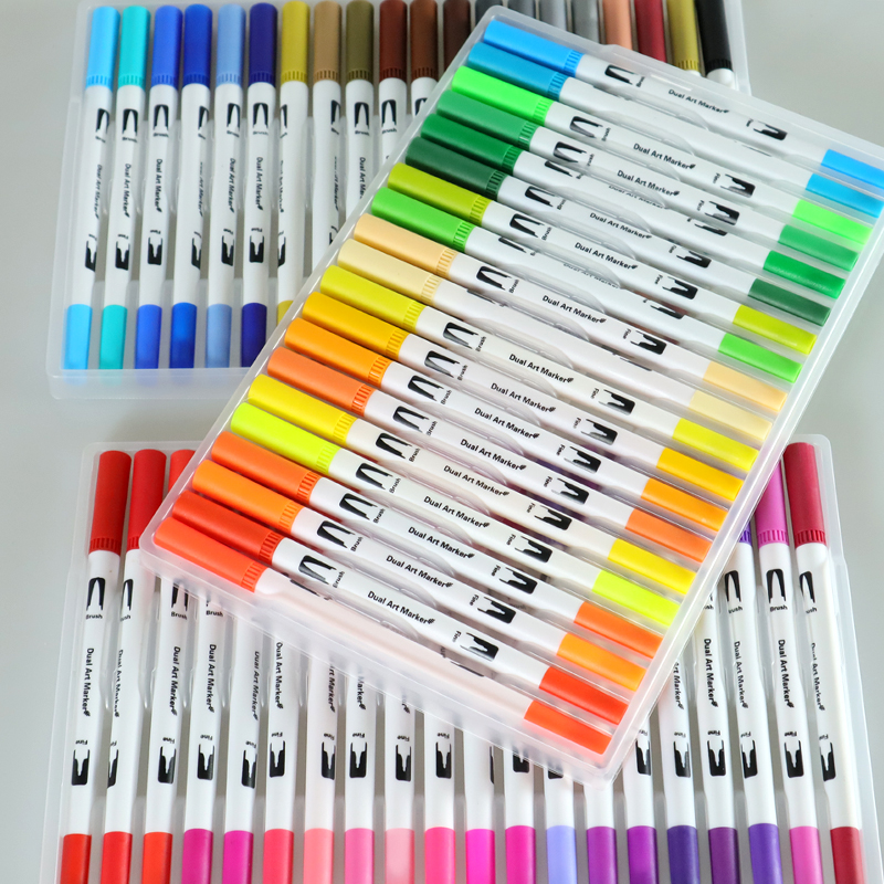 12-36-48-72-100-120-Color-Fine-Liner-Dual-Tip-Brush-Pen-Felt-Tip-Pen
