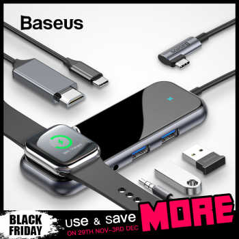 Baseus USB C HUB to USB 3.0 HDMI RJ45 Adapter for MacBook Pro Air Multi Type C HUB with Wireless Charge for iWatch USB-C HUB - Category 🛒 Computer & Office