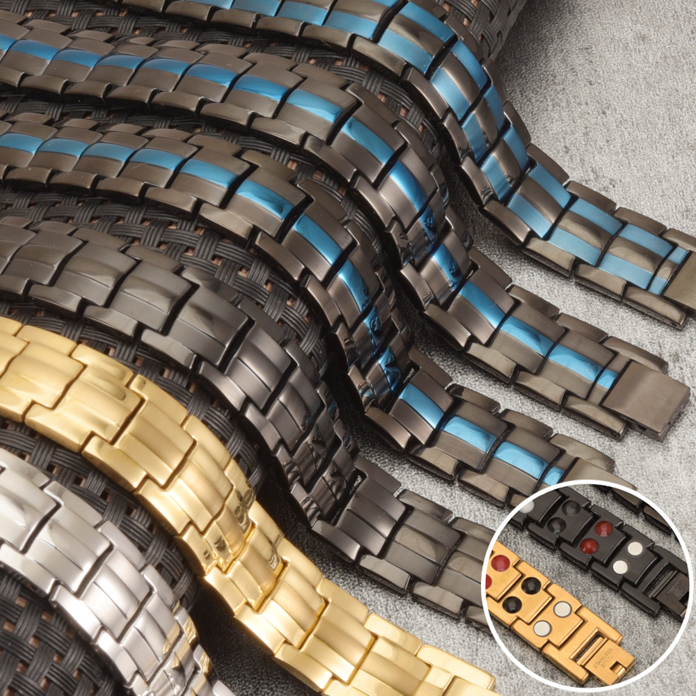 Magnetic Black Bracelet Men Hand Chain Energy Health Germanium Magnetic Bracelet Men Stainless Steel Bracelets For Women Men