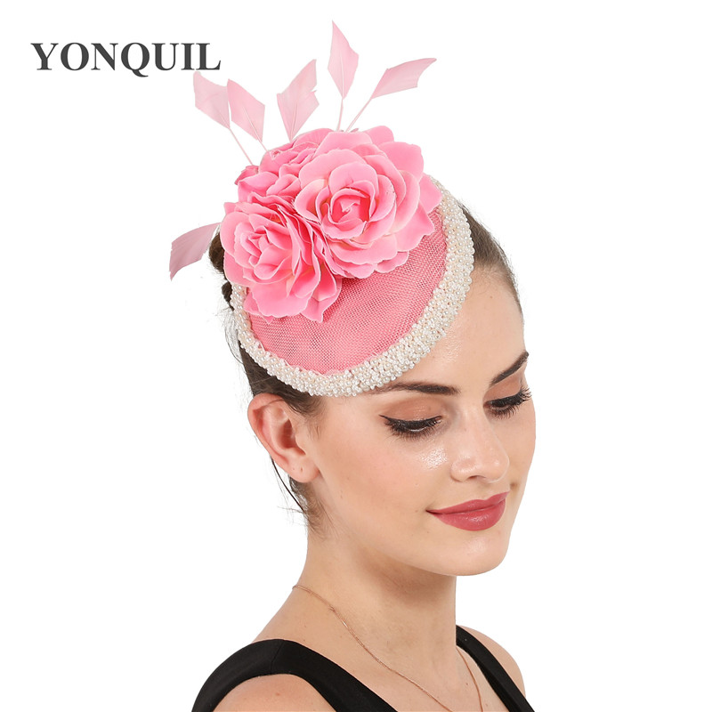 Bride wedding Headdress women fascinators flower Hair Accessories Photography Sinamay ladies Hat Bridal Hats Wedding Headdress