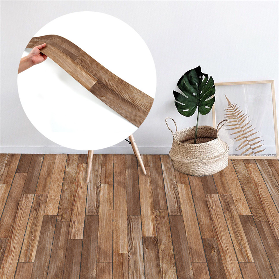 Wood Texture Floor Sticker Self-adhesive Wear-resistant Home Decorative Decal Waterproof PVC Bedroom Living Room Decor Wallpaper