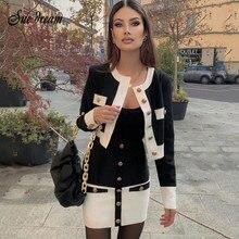 2020 novo high street verão retalhos 2 conjunto de duas peças o pescoço manga comprida bolso botão mini bandagem vestido feminino curto conjunto