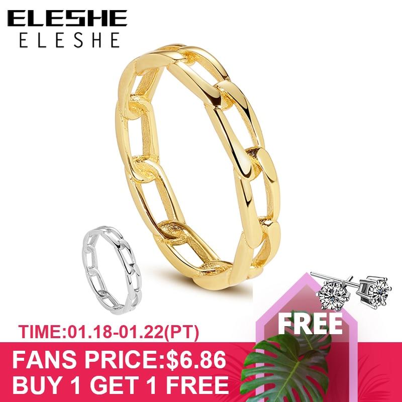 ELESHE pur 925 en argent Sterling fines bagues avec 18K plaqué or grosse chaîne Simple anneau pour les femmes mariage fête bijoux cadeau
