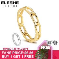 ELESHE czysta 925 Sterling Silver Fine Rings z 18K pozłacane masywny łańcuch prosty pierścień dla kobiet Wedding Party biżuteria prezent