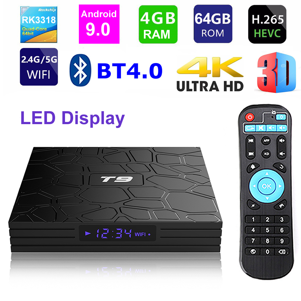 T9 Android 9.0 Smart TV BOX RK3318 Quad core 4GB Ram 64G Rom affichage numérique 2.4G/5G double WIFI Bluetooth 3D HDR 4K lecteur multimédia