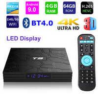 T9 Android 9.0 Smart TV BOX RK3318 Quad core 4GB di Ram 64G Rom Display Digitale 2.4G/ 5G Dual WIFI Bluetooth 3D HDR 4K Media Player