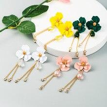 Korean Cute Sweet Flower Tassel Earrings for Women Multicolor Fashion Shiny Rhinestones Long Drop Dangle Girls Jewelry