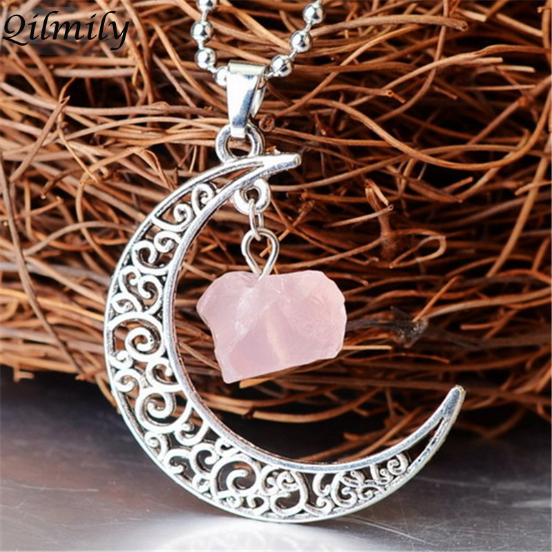 Qilmily Irregular Natural Stone Moon Collares pendientes para mujeres Hombres Purple Pink Transparent Quartz Ancient Silver Jewerly Regalos