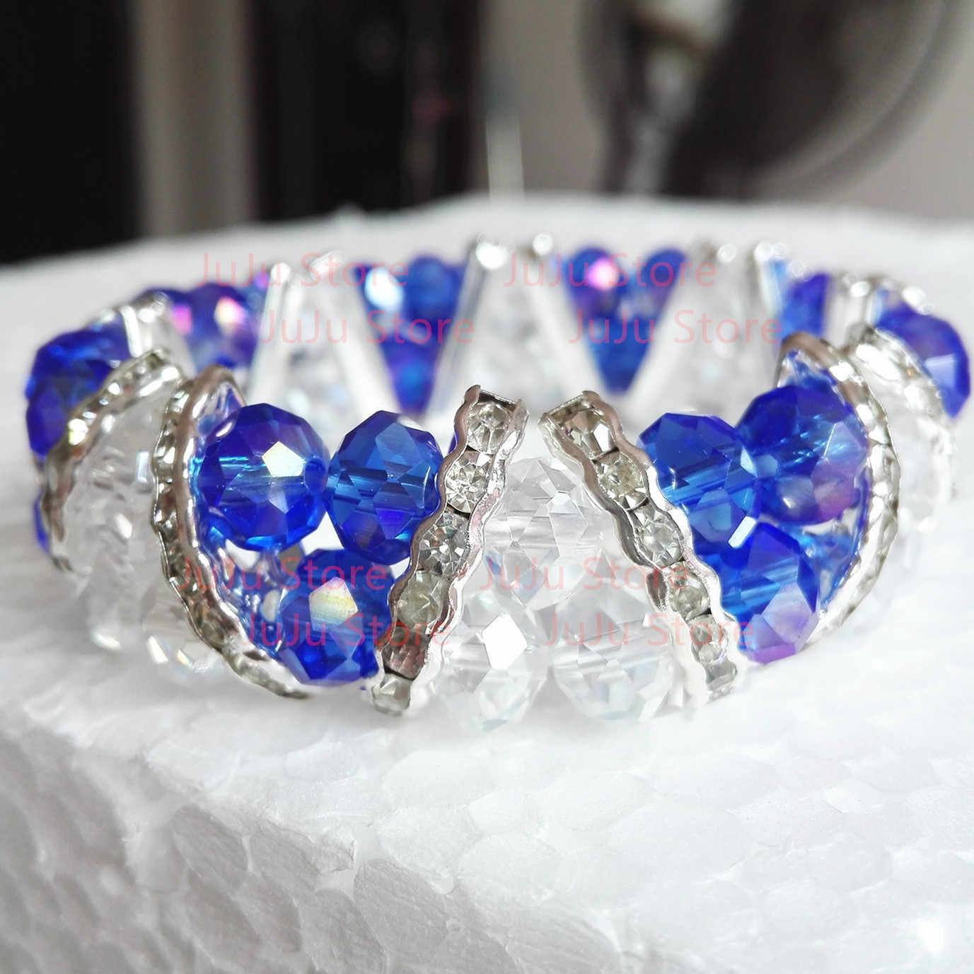 one piece Costume Jewelry Two Tiers Blue And Clear Crystal Glass Stretch Bracelet gcb1397