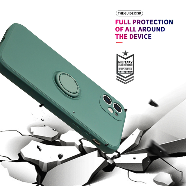 Liquid Silicone Finger Ring Stand Magnetic Holder Bracket For iPhone 12 11 Pro Max Mini XR X XS Max 7 8 Plus SE 2020 Phone Case 5