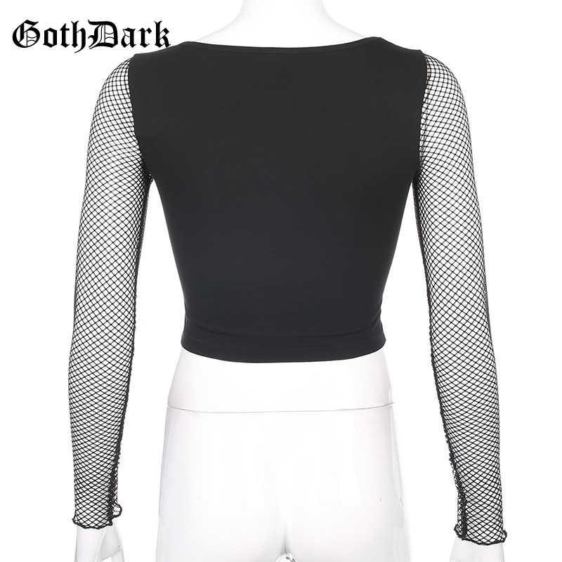 Goth Dark Vintage harajuku Egirl Gothic t-shirty Emo damskie estetyczne 2020 długi rękaw siatkowy haft serce koszulka damska Chic