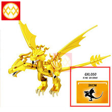 Single Sale Three Head King Ghidrah Golden Dragon Large Action Model Building Blocks Movie Big Villains Toys For Children GXL050(China)