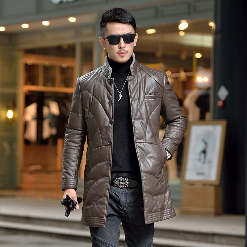 Men's Leather Jacket 90% White Duck Down Jacket Winter Coat Men Second LayerSheepskin Leather Jackets HN5524 MY749