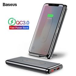 Baseus 10000 mah carga rápida 3.0 banco de potência portátil usb c pd rápido qi carregador sem fio powerbank para xiao mi bateria externa