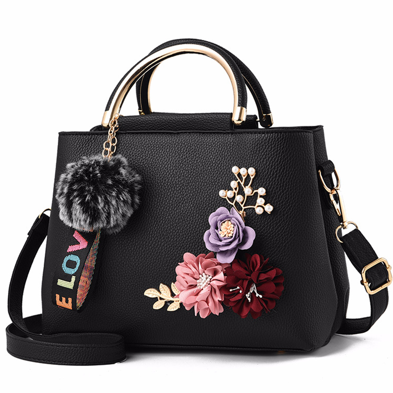 Girl Bag Leather Handbag Girl Shoulder Bag Tote Flowers Shell Sac A Main Femme Rivets Fur Ball Pendant Luxury Designer Ladies