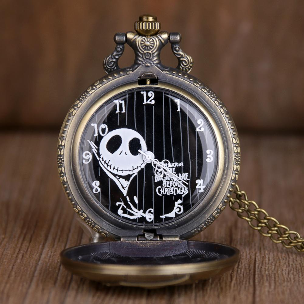 Steampunk Pocket Watch The Nightmare Before Christmas Jack Skellington Skull Quartz Fob & Pocket Watch Chain Women Men Gifts