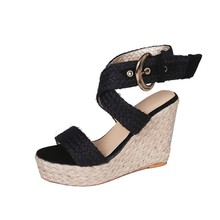 Round Toe Slope Women Sandals Roman Sandals Buckle Comfortable High Heel Hemp Rope Slope  Fish Mouth Large Size 43 Wedge Shoes