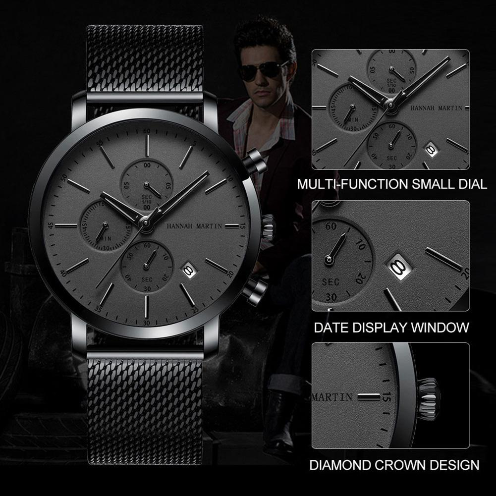HobbyLane Hannah Martin Men Quartz Watch Multi-functional Date Waterproof Stainless Steel Business Wristwatch