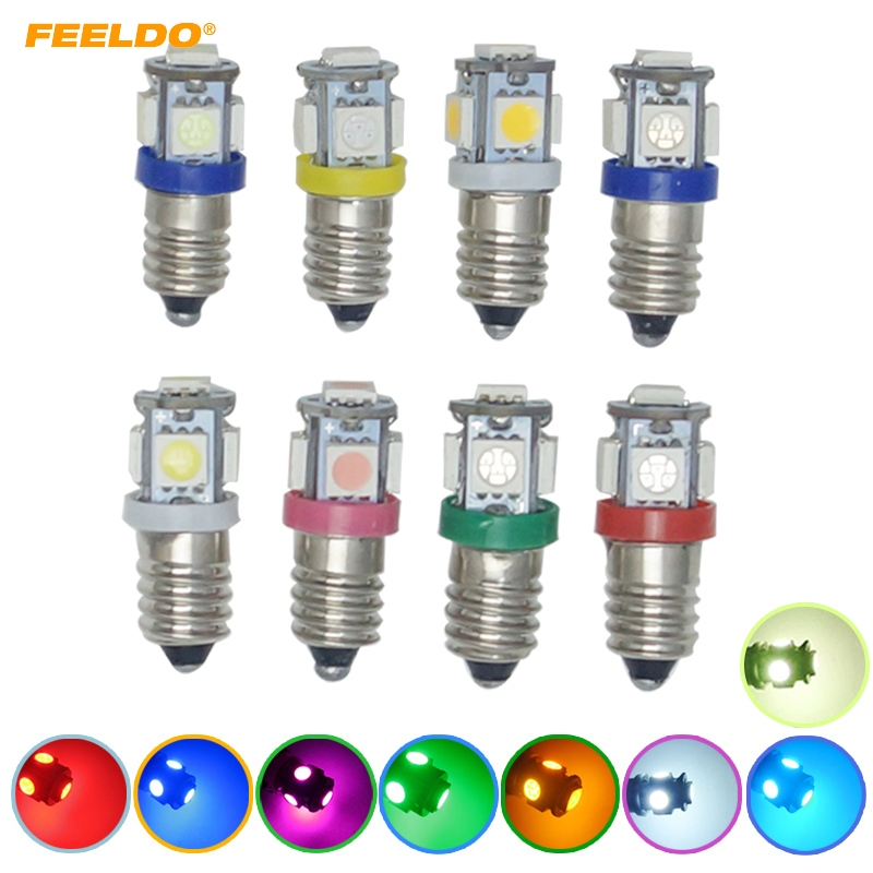 FEELDO 100Pcs Car 6V/12V/24V 8-Color Auto E10 5050SMD 5-LED High Power Dashboard LED Light Bulb Car Light #HQ6145 image
