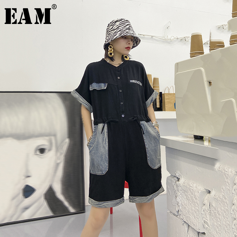 [EAM] Loose Fit Women Black Denim Big Size Playsuits New High Waist Pocket Stitch Pants Fashion Tide Spring Autumn 2020 1Y423