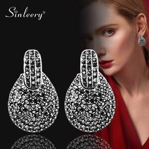 Sinleery vintage feminino completa preto zircônia cúbica brincos de gota prata antigo cor da declaração jóias boho estilo es120 ssh
