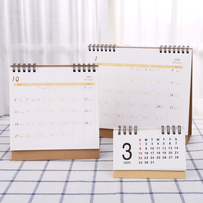 Simple Desktop Standing Paper <font><b>2020</b></font> Double Coil <font><b>Calendar</b></font> Memo Daily Schedule Table Planner Yearly Agenda Desk Organizer image