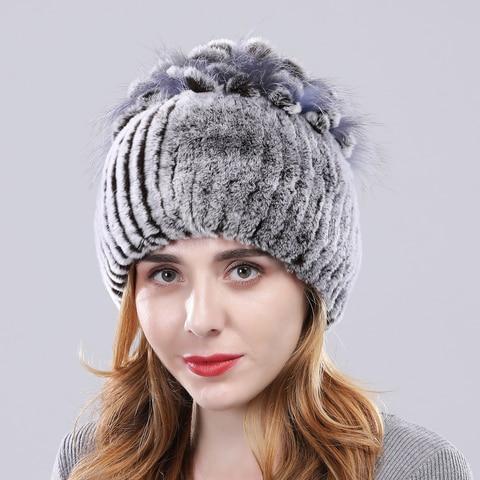Winter Warm Genuine Rex Rabbit Fur Hat Women 100%Natural Real Rex Rabbit Hat Good Elastic Knitd Rabbit Fur Caps Free Shipping Karachi