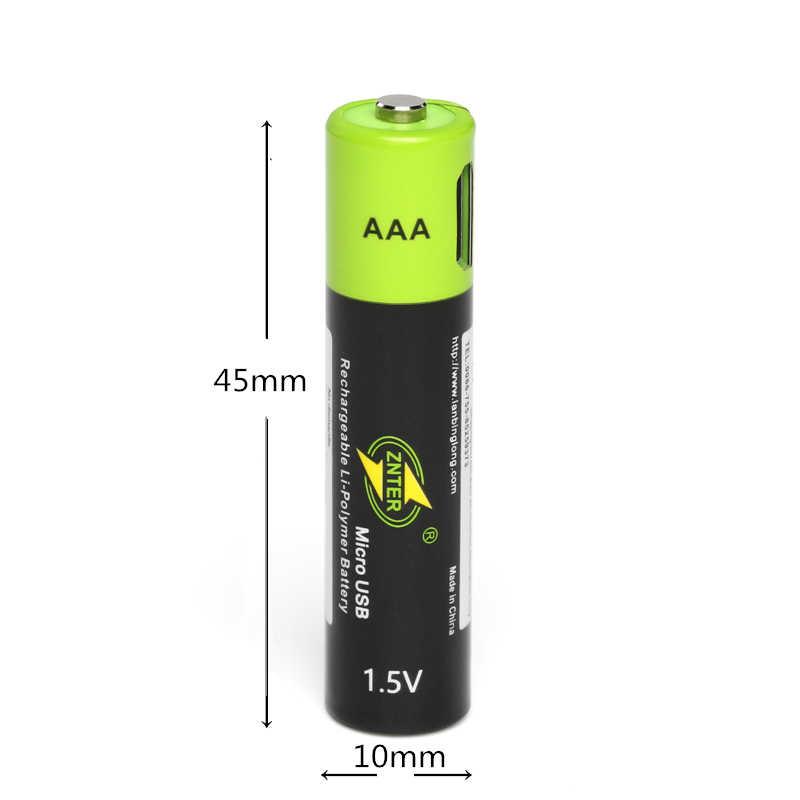 ZNTER 1.5V AAA 充電式バッテリー 600 の usb の充電式リチウムポリマー電池 + マイクロ USB ケーブル高速充電