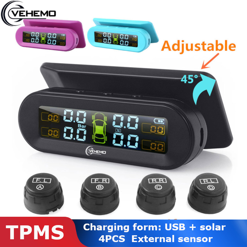 Vehemo Wireless USB TPMS Tire Pressure 4PCS External Sensor Type Real-Time Display Car Alarm Digital Dashboard Android Tmps Tyre
