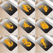 Sfondo nero Golden Pattern antiscivolo Camera Da Letto Tappeto Decorativo Cucina Soggiorno Pavimento Zerbino Bagno antiscivolo Zerbino 40x60cm.