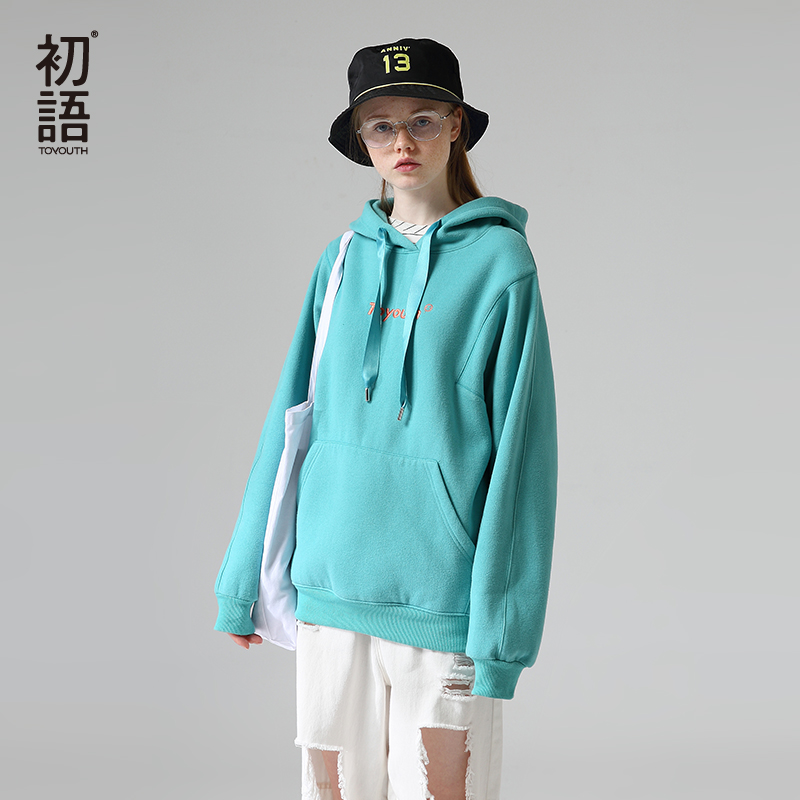 Toyouth Women Winter Fleece Hoodies And Sweatshirts Letter Embroidery Hooded Tops Casual Long Sleeve Tracksuits Female