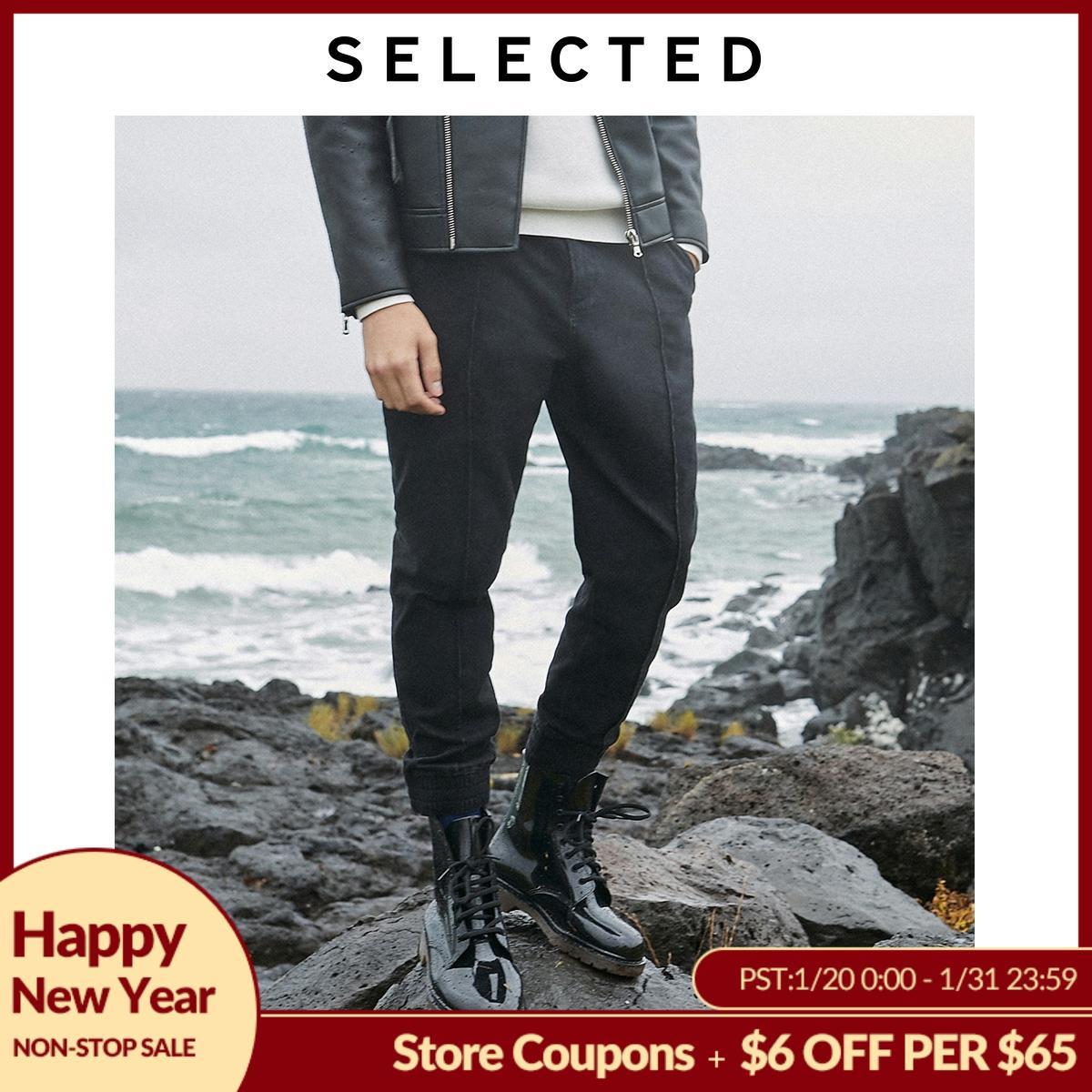 SELECTED Men's Slight Stretch Denim Pants New Stretch Black Ankle-tied Jeans  LAB 419432512