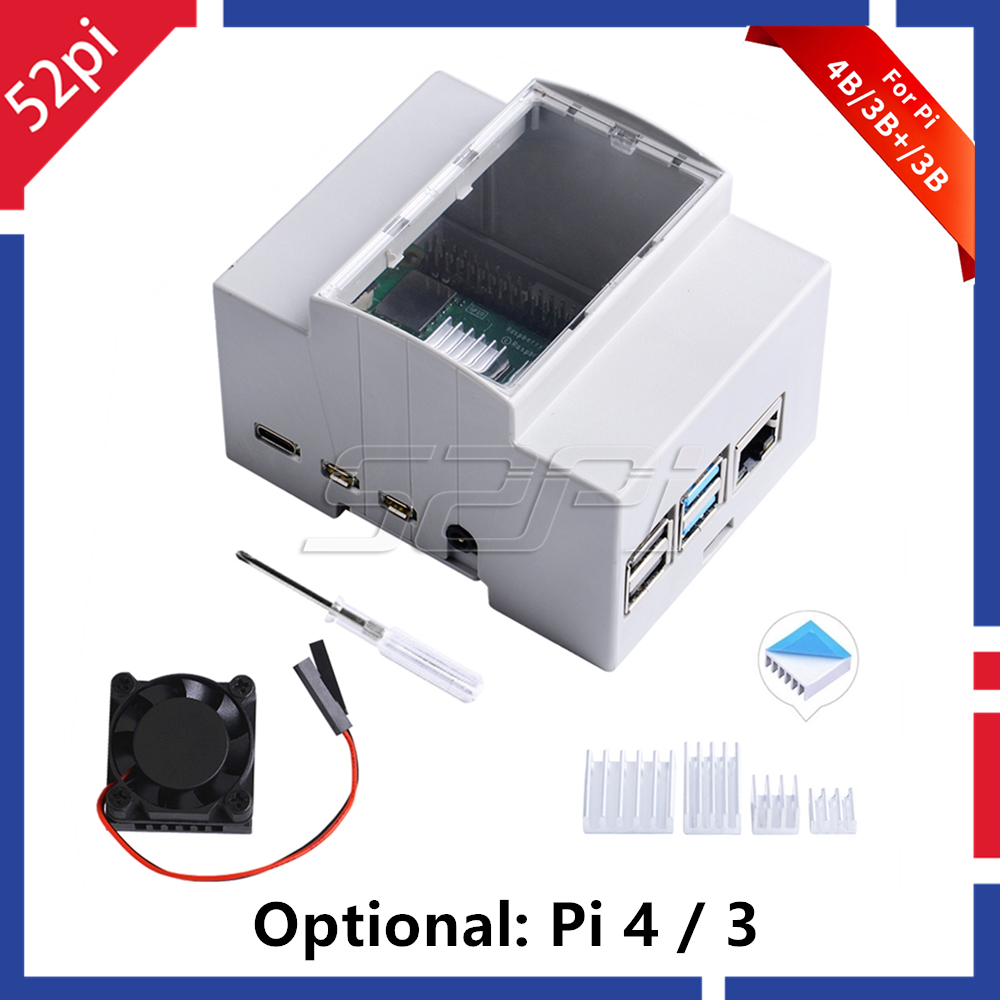 52Pi ABS Electrical Box Plastic Case for Raspberry Pi, with Cooling Fan Heatsinks Screwdriver for Raspberry Pi 4 B / 3 B + / 3 B