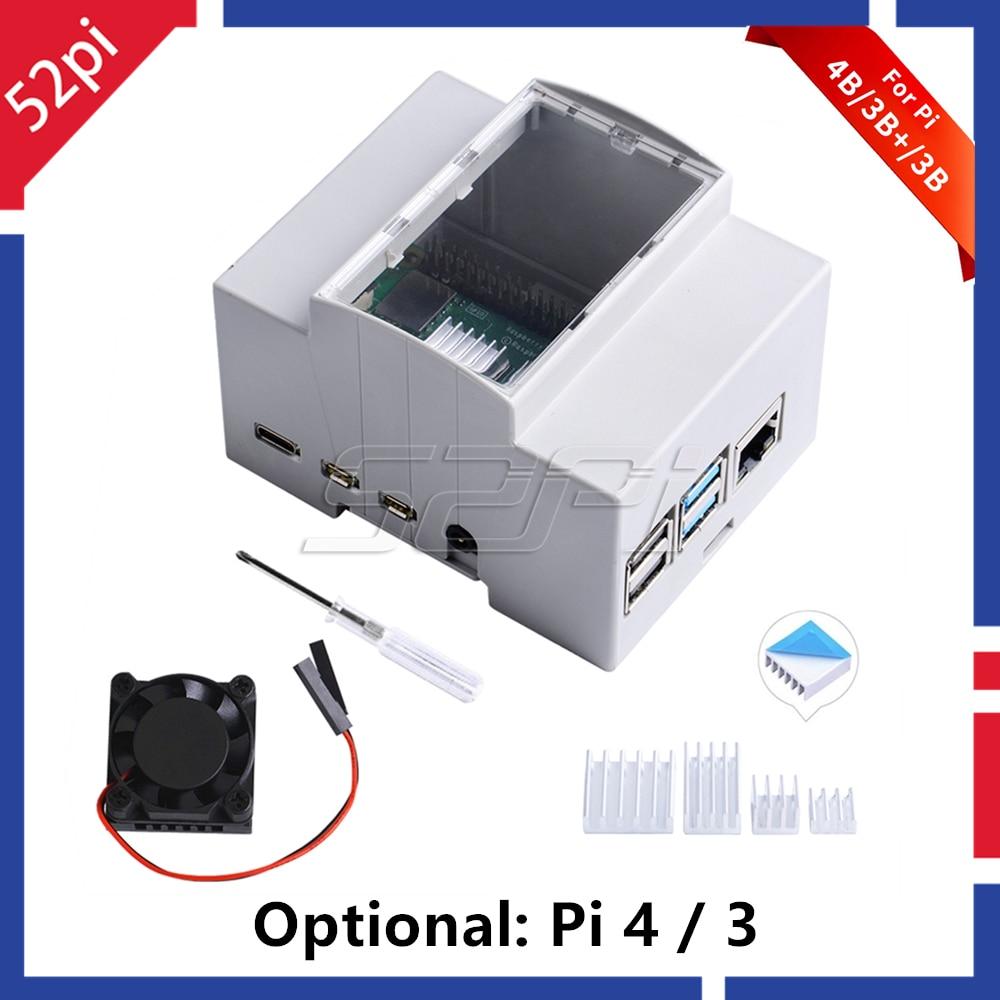 52Pi ABS Electrical Box Plastic Case For Raspberry Pi, With Cooling Fan Heatsinks Screwdriver For Raspberry Pi 4 B / 3 B + / 3 B