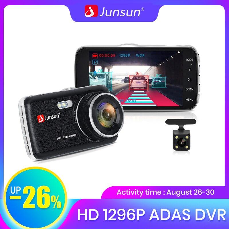 Junsun Video Registrator Car-Dvr-Camera Dvrs Dash-Cam 1296P Dual-Lens ADAS Night-Vision