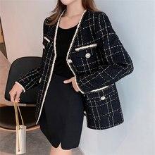 Шерстяная клетчатая куртка для женщин Осень зима ретро корейский