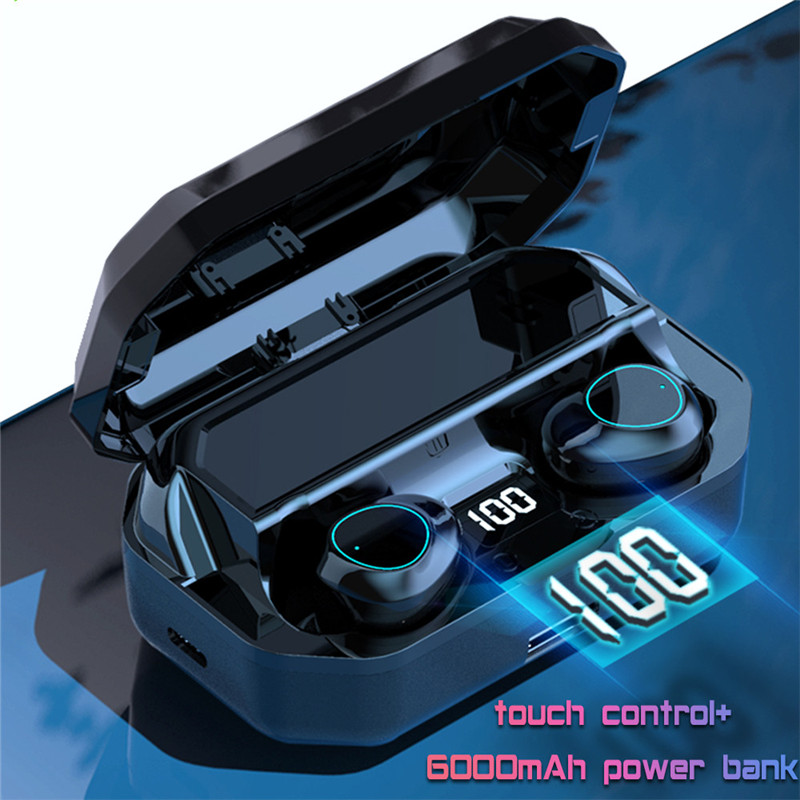 G03 TWS Wireless Bluetooth Earbuds Stereo LED Display 6000mAh Power Bank 9D Stereo Music Headset Touch Bluetooth Earphone 5.0