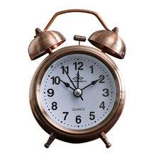 Reloj despertador de 4 pulgadas, relojes de mesa de Metal de cobre Vintage con función luminosa, reloj de aguja silencioso para mesilla de noche, despertador