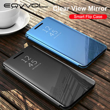 Eqvvol Clear View Smart Mirror Case For Samsung S10 S9 S8 Plus S7 Edge Flip Cases On Galaxy Note 8 9 10 Pro A50 A80 A70 A7 Cover(China)