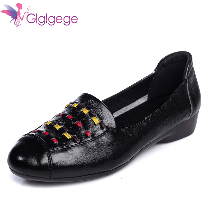 Promo Glglgege Women's Shoes Made of Genuine leather Large size 41 Slip-on Flat shoes women Damping Non-slip Flat shoes 2020 News