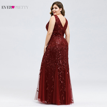 Elegant Plus Size Prom Dresses Long Ever Pretty Robe De Soiree Mermaid V Neck Sequined Wedding Party Gowns Vestidos De Fiesta 3