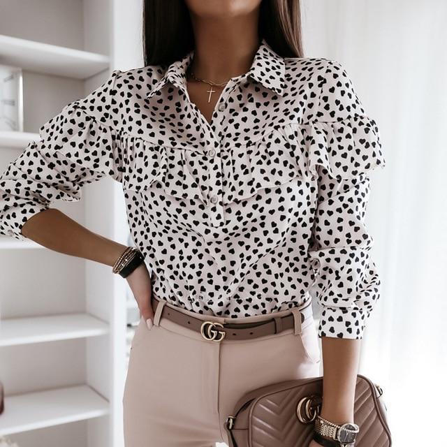 2020 Autumn Women Polka Dot Ruffle Blouse Shirt Elegant Fashion O Neck Buttons Streetwear Tops Lady Spring Long Sleeve Pullover 5