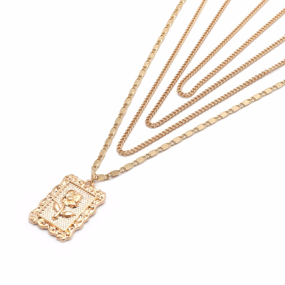 Ingemark Statement Multilayer Square Pendants Rose Pattern Circle Choker Necklace Clavicle Chain Fashion Jewelry for Women 8