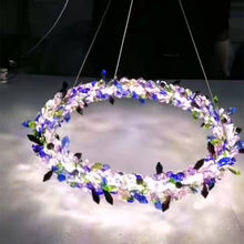 Nordic Ice Flower Colorful Chandeliers Luxury Crystal Flower Rings Lamp Dining Room Chandelier Living Room Decoration