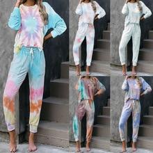 2020 New Women Autumn Winter Tie-Dye Leisure Tops Fashion Long Sleeve Shirts Long Pants Pajama Set W