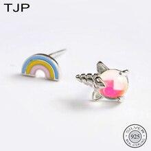 TJP S925 Silver Girl Heart Cartoon Jewelry Asymmetric Seven-color Rainbow Unicorn Ear Nails
