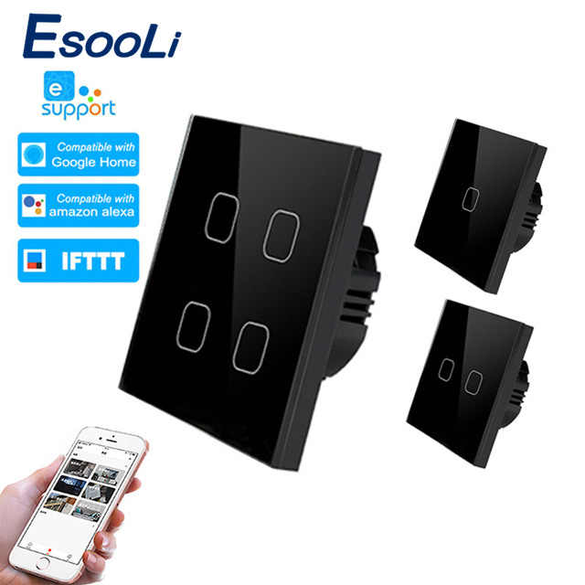 EsooLi ewelink Smart Home 1/2/4 Gang 1 way Wireless WiFi EU Standard Touch Switch Wall Light Switch,Luxury Crystal Glass