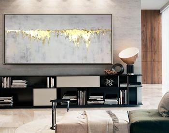 Large Abstract Oil Painting Gray Painting Gold Leaf Wall Art Painting Canvas Art Abstract Texture Art Wall Painting Home Decor