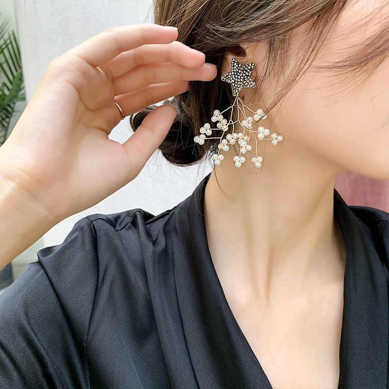 Européen et américain élégant branche forme perle gland étoile oreille clou exquis à la main exagéré prévenir les boucles d'oreilles allergiques